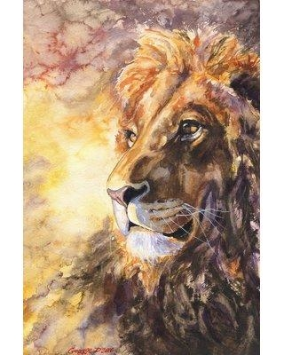 """World Menagerie 'King Caesar' Watercolor Painting Print on Wrapped Canvas WLDM5115 Size: 36"""" H x 24"""" W x 1.5"""" D"""