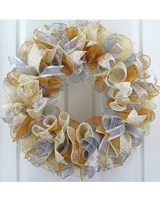 Mesh Christmas Wreaths   Merry Christmas Mesh Front Door Wreath; Gold Silver Ivory