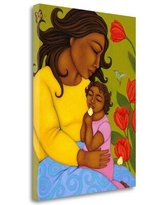 "Tangletown Fine Art 'Mother & Child' - Wrapped Canvas Print, Canvas & Fabric in Brown/Yellow/Green, Size Medium 25""-32"" Large 33""-40"" Small 18""-24"""