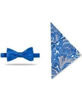 Madison Cobalt Pre-Tied Solid /Paisley Bow-Tie With Pocket Square
