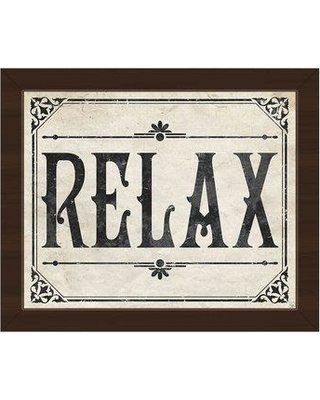 """Click Wall Art 'Rustic Relax Paper' Framed Textual Art on Canvas BAT0000137FRA Size: 10.5"""" H x 12.5"""" W Format: Espresso Framed"""