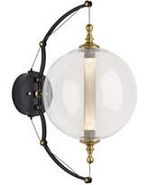 """Otto Sphere 21 1/2"""" High Brass and Black Wall Sconce"""