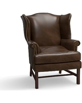 Thatcher Leather Armchair, Polyester Wrapped Cushions, Leather Vintage Cocoa