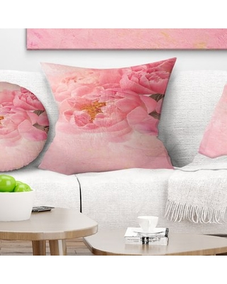 "Floral Peony Flowers on Background Pillow East Urban Home Size: 18"" x 18"", Product Type: Throw Pillow"
