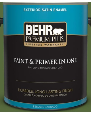BEHR Premium Plus 1 gal. #410D-7 Mountain Forest Satin Enamel Exterior Paint and Primer in One