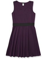 Star Vixen Women's Sleeveless Skater Dress with Colorblock Inset Belt, Purple/Black, Small
