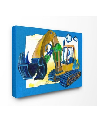 The Kids Room by Stupell Yellow Excavator with Blue Border Stretched Canvas Wall Art, 16 x 1.5 x 20