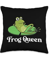 Funny Amphibian Animal Green Frog Themed Designs Frog Gift For Women Grandma Cute Bullfrog Toad Tadpole Lover Throw Pillow, 16x16, Multicolor