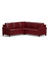Cameron Roll Arm Leather 3-Piece L-Shaped Corner Sectional, Polyester Wrapped Cushions, Leather Signature Berry Red