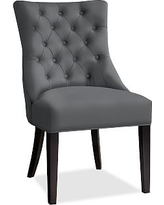 Hayes Tufted Dining Side Chair, Mahogany Frame, Premium Performance Basketweave Charcoal