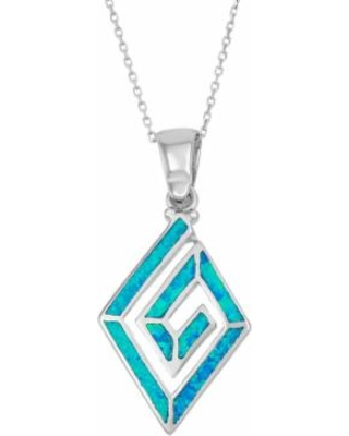 """""""Lab-Created Blue Opal Sterling Silver Swirl Marquise Pendant Necklace, Women's, Size: 18"""""""""""