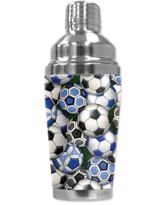 """Mugzie """"International Soccer Balls"""" Cocktail Shaker with Insulated Wetsuit Cover, 16 oz, Black"""