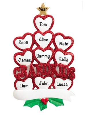 Grandkids Hearts Family of 10 Holiday Shaped Ornament