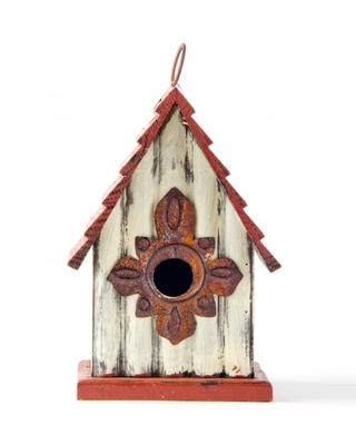 Glitzhome® Tall White & Red Distressed Wood Bird House | Michaels®
