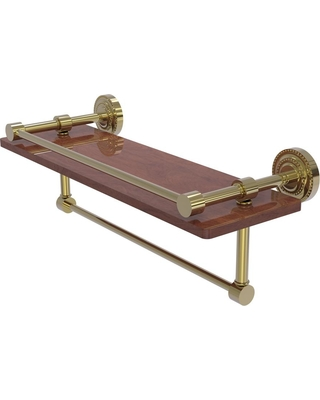 Allied Brass Dottingham Collection 16 in. IPE Ironwood Shelf with Gallery Rail and Towel Bar in Unlacquered Brass
