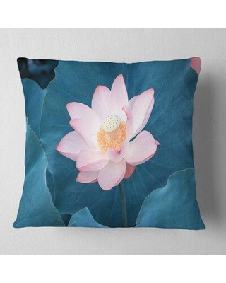 """East Urban Home Blooming Pink Lotus Flower Oversized Beach Pillow VOIN0899 Size: 16"""" x 16"""" Product Type: Throw Pillow"""