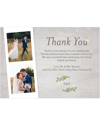 Gartner Studios Personalized Wedding Thank You Card Greenery Lights 5 X 7 Flat From Real Simple