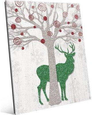 """Click Wall Art 'Glamour Red Tree & Green Reindeer ' Graphic Art on Plaque GXM0000104ACR Size: 20"""" H x 16"""" W x 1"""" D"""