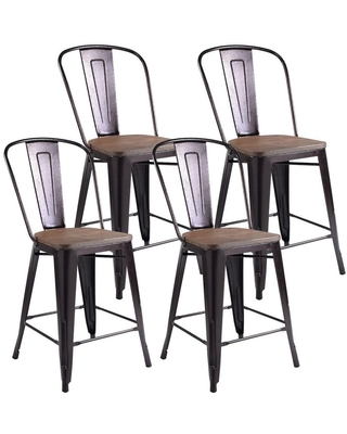 Boyel Living Cooper 4- Piece Stackable Metal Kitchen Dining Chairs