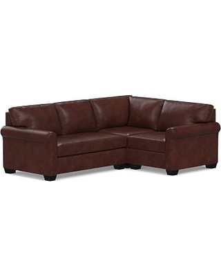 York Roll Arm Leather Left Arm 3-Piece Corner Sectional with Bench Cushion, Polyester Wrapped Cushions, Statesville Espresso