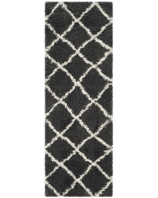 Safavieh Belize Denby Shag 2 x 5 Charcoal/Ivory Indoor Trellis Moroccan Throw Rug in Black/White   SGB489C-25