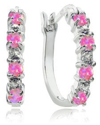 Glitzy Rocks Sterling Silver Created Opal and Diamond Accent Hoop Earrings - White (Pink)
