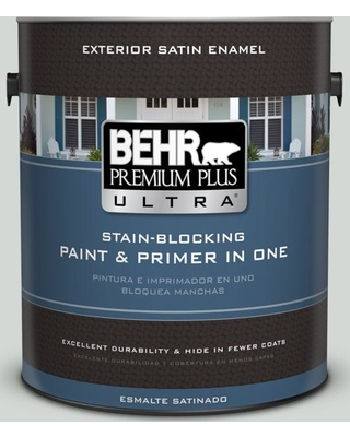 BEHR ULTRA 1 gal. #PPU25-13 Misty Coast Satin Enamel Exterior Paint and Primer in One