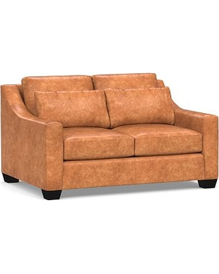 """York Deep Seat Slope Arm Leather Loveseat 60"""", Polyester Wrapped Cushions, Statesville Caramel"""