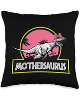 Mother's Day Designs Mom-Gifts Mother-saurus Tyrannosaurus Rex Funny Mom Mommy Mama Throw Pillow, 16x16, Multicolor