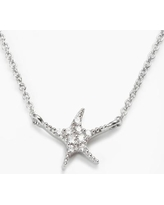 """""""Sophie Miller Sterling Silver Cubic Zirconia Starfish Necklace, Women's, Size: 18"""", White"""""""