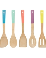 Now Designs Bamboo Utensils, Set of 5, Multi-Color