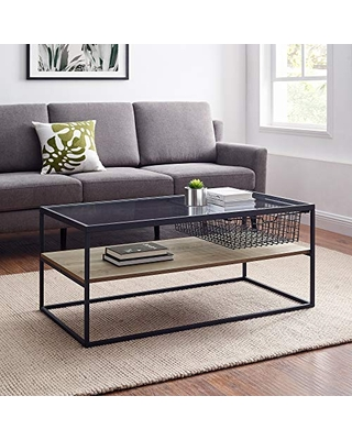 Walker Edison Furniture Company Mesh Drawer Glass Top Coffee Table, 42 Inch, Grey Wash