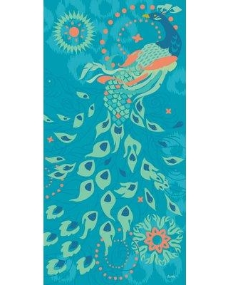 """Marmont Hill 'Peacock Of Peoria' by Evelia Painting Print on Wrapped Canvas ET-MWW-ES-4044-C- Size: 36"""" H x 18"""" W"""
