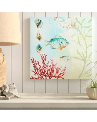 "Highland Dunes 'Deep Sea Coral II' Acrylic Painting Print BF163566 Size: 18"" H x 18"" W x 1"" D Format: Wrapped Canvas"