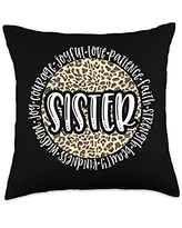 Leopard Cheetah Mom and Grandmother SISTER Cheetah Leopard Print Circle Love Patience Black Throw Pillow, 18x18, Multicolor