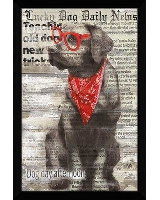 "Winston Porter 'Lucky Dog' Framed Graphic Art Print W000608441 Size: 27.5"" H x 21.5"" W x 0.75"" D"