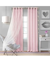 """Elrene Home Fashions Aurora Solid Faux Silk with Sheer Sparkle Overlay Room Darkening Window Curtain Panel, 52"""" W x 95"""" L (1, Soft Pink"""