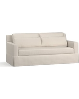 """York Square Arm Slipcovered Deep Seat Sofa 79"""" with Bench Cushion, Down Blend Wrapped Cushions, Performance Twill Cream"""