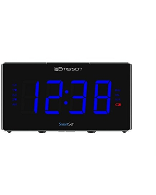 Emerson ER100104 Smartset Alarm Clock with 1.2 White LED Night Light Wireless Charging USB Charge Out and Temperature Detector