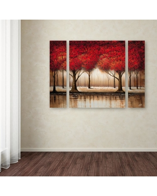 """Trademark Fine Art 30 in. x 41 in. """"Parade of Red Trees"""" by Rio Printed Canvas Wall Art, Multi"""