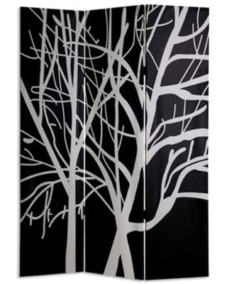 BM26497 3 Panel Canvas Room Divider with Branch Pattern Black and