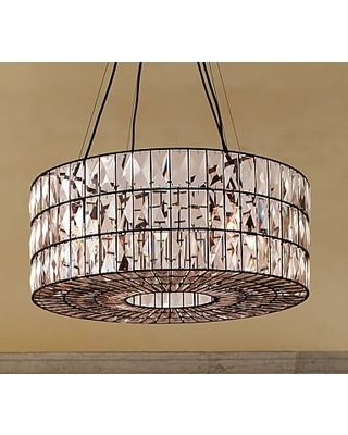 Adeline Faceted Crystal Round Chandelier Bronze Finish