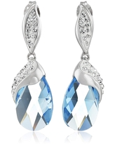 Crystaluxe Drop Earrings with Blue Briolette Crystals in Sterling Silver (Blue - White)