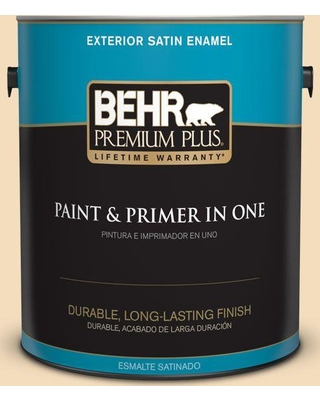 BEHR Premium Plus 1 gal. #YL-W01 Spinning Silk Satin Enamel Exterior Paint and Primer in One
