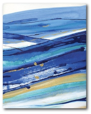 Courtside Market Wave of Navy & Gold I Gallery-Wrapped Canvas Wall Art, 16x20