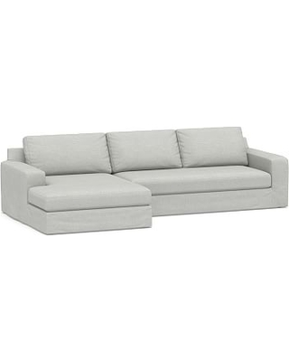 Big Sur Square Arm Slipcovered Right Arm Sofa with Double Chaise Sectional and Bench Cushion, Down Blend Wrapped Cushions, Basketweave Slub Ash