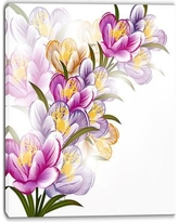 "DesignArt Vector Purple Flowers Painting Print on Wrapped Canvas PT6124- Size: 40"" H x 30"" W"