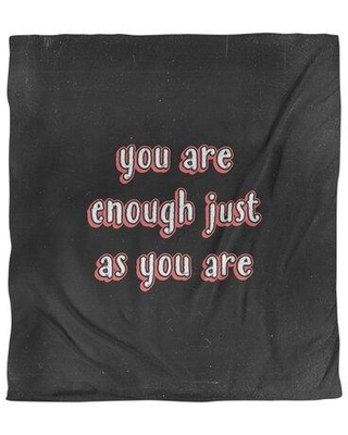 East Urban Home You Are Enough Quote Single Duvet Cover EBKJ4518 Size: King Duvet Cover Color: Black/Red