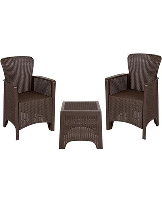 DAD-SF3-2P-SET-CHOC-GG Chocolate Faux Rattan Plastic Chair Set with Matching Side