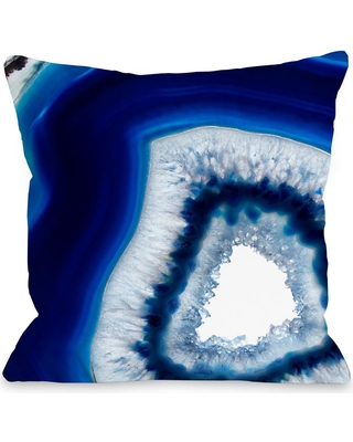 ONE BELLA CASA Geode Abyss Navy Graphic Polyester 16 in. x 16 in. Throw Pillow, Blue